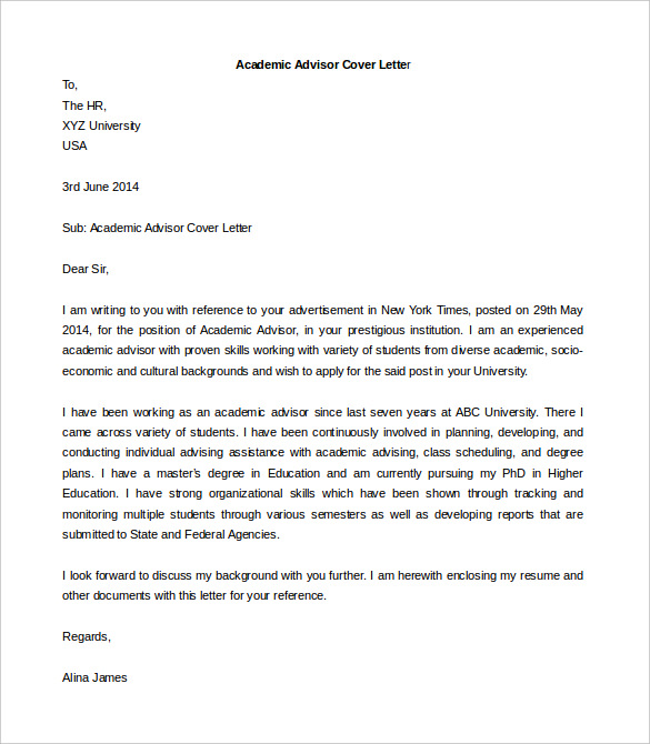 Academic Advisor Cover Letter Tempalte Printable Word Format