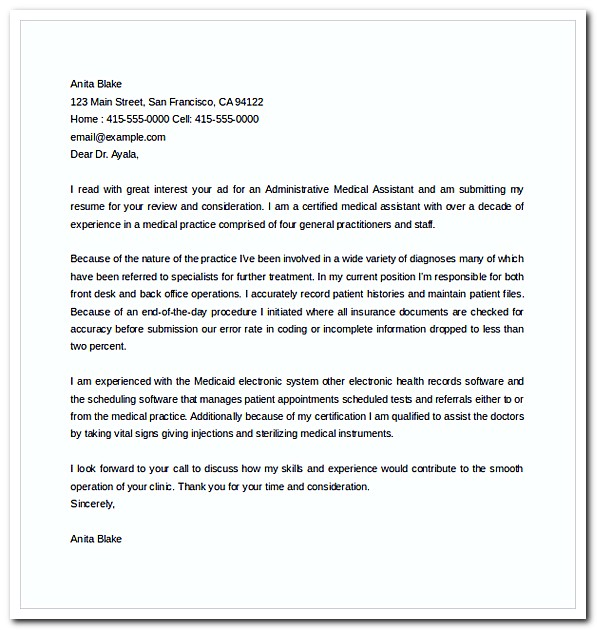Administrative Medical Assistant Cover Letter Free Word Template Download