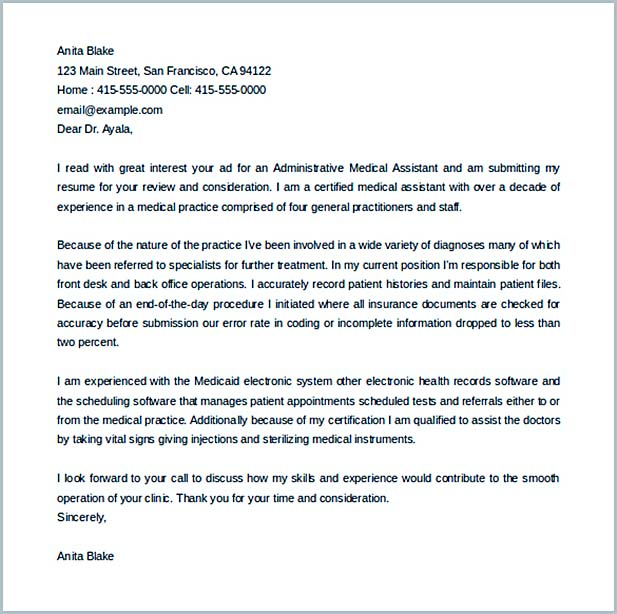 34+ Administrative Assistant Cover Letter Template