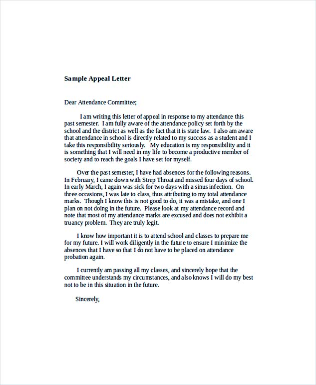Appeal Letter Template  Cease And Desist Letter Sample