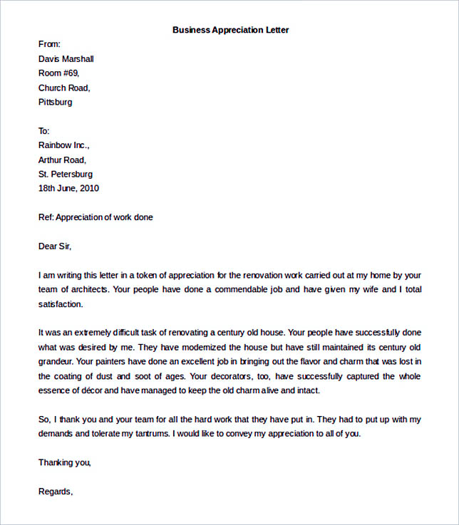 Appreciation for Business Letter Template in MS Word