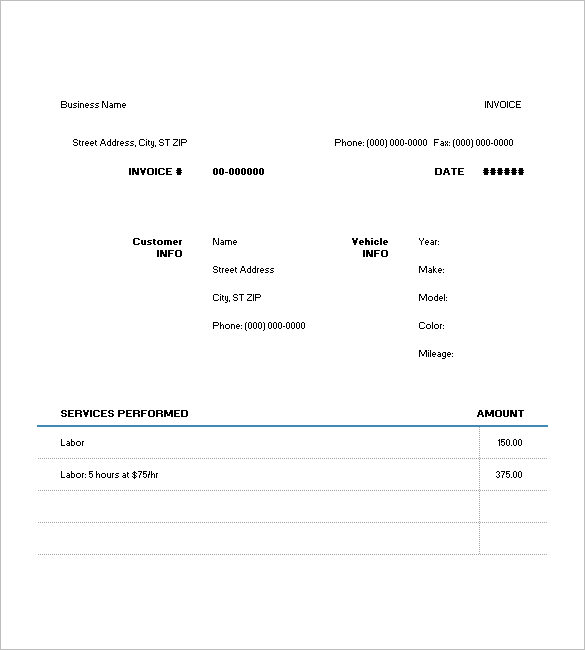 Auto Repair Invoice Template Free