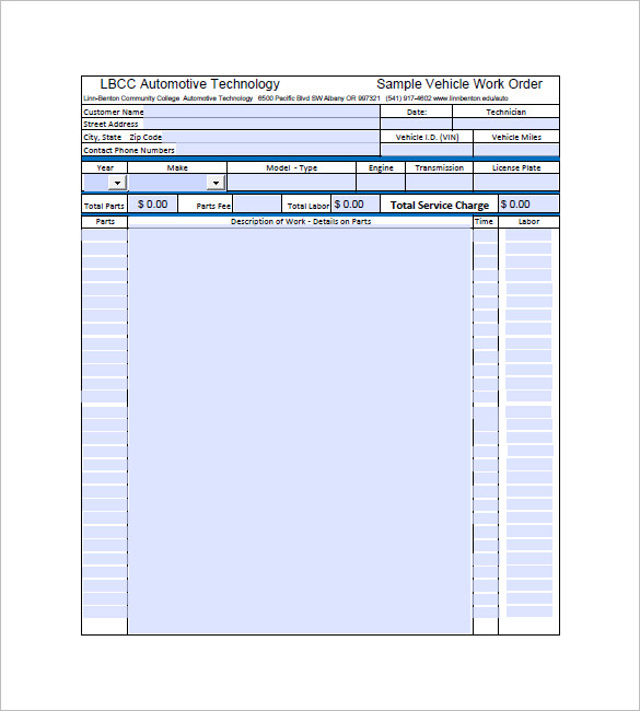 Auto Repair Invoice Template Pdf