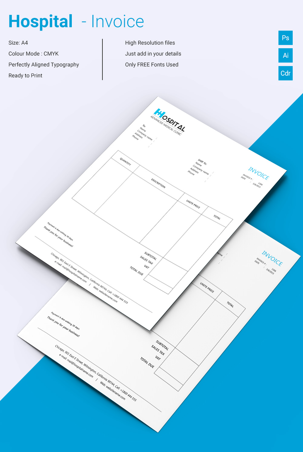 Beautiful Hospital Invoice Template  Microsoft Word Free Invoice Template