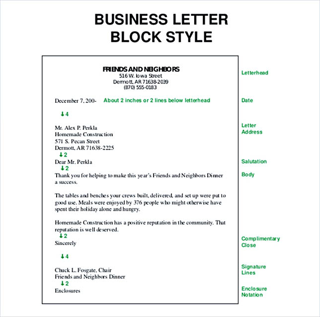 Block Style Business Letter Free PDF Template