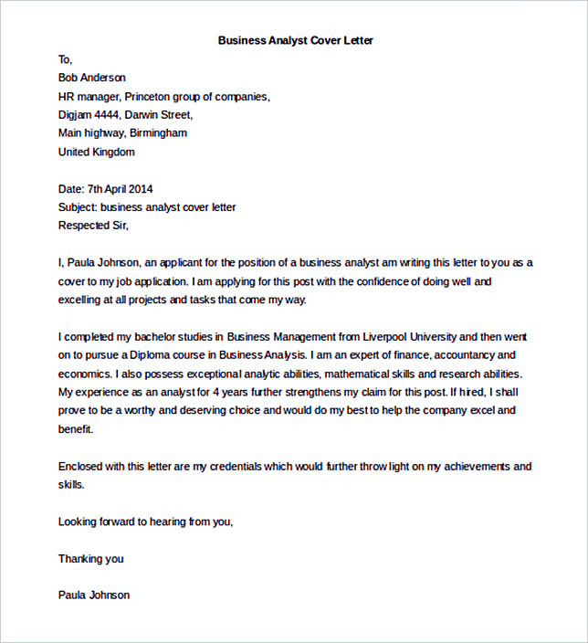 Business Analyst Cover Letter Template Word Doc