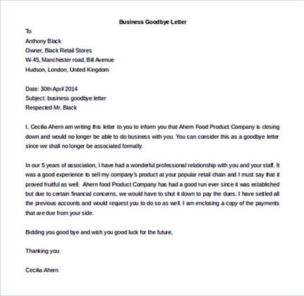 Business Goodbye Letter Template Editable Doc