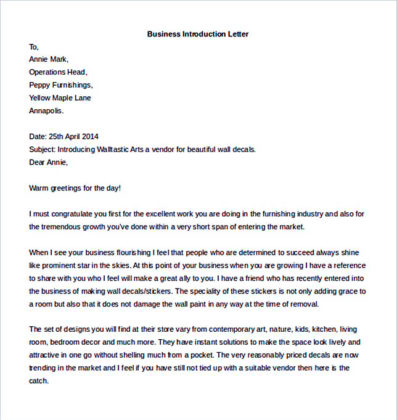 Business Introduction Letter Template Free Format