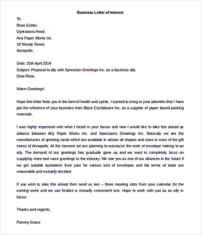 Business Letter of Interest Word Format Download