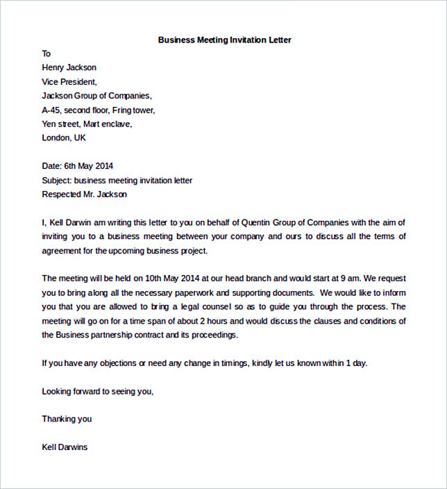 Business Meeting Invitation Letter Sample Business