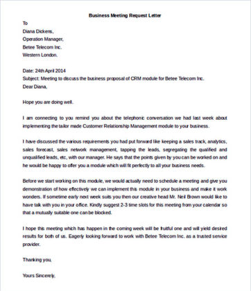 Business Meeting Request Letter Template Free Word Format