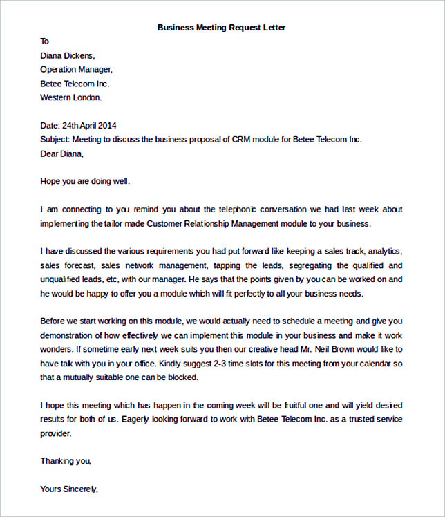 38 business letter template options know which format to use business meeting request letter template free word format friedricerecipe Images
