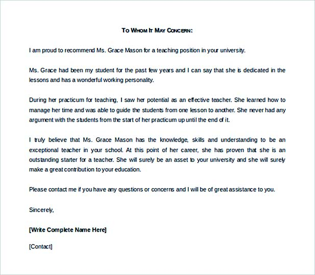 Business Reference Recommendation Letter Template Example