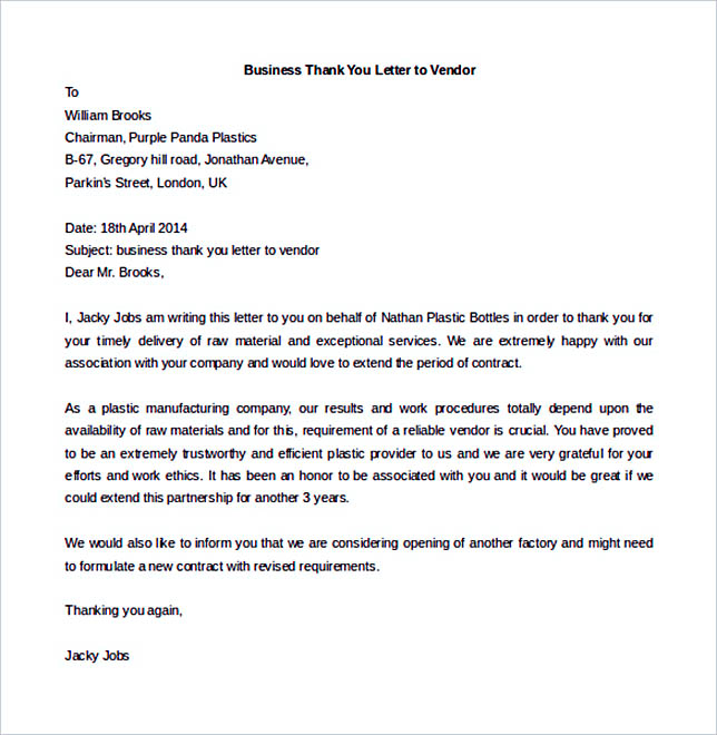 38 business letter template options know which format to use business thank you letter to vendor free download spiritdancerdesigns Image collections