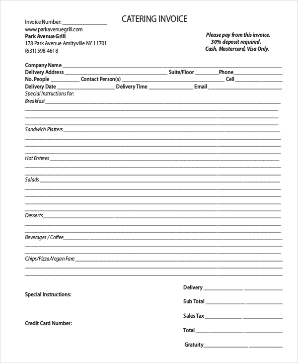 Tips design concept to relate in catering invoice template for Catering email template