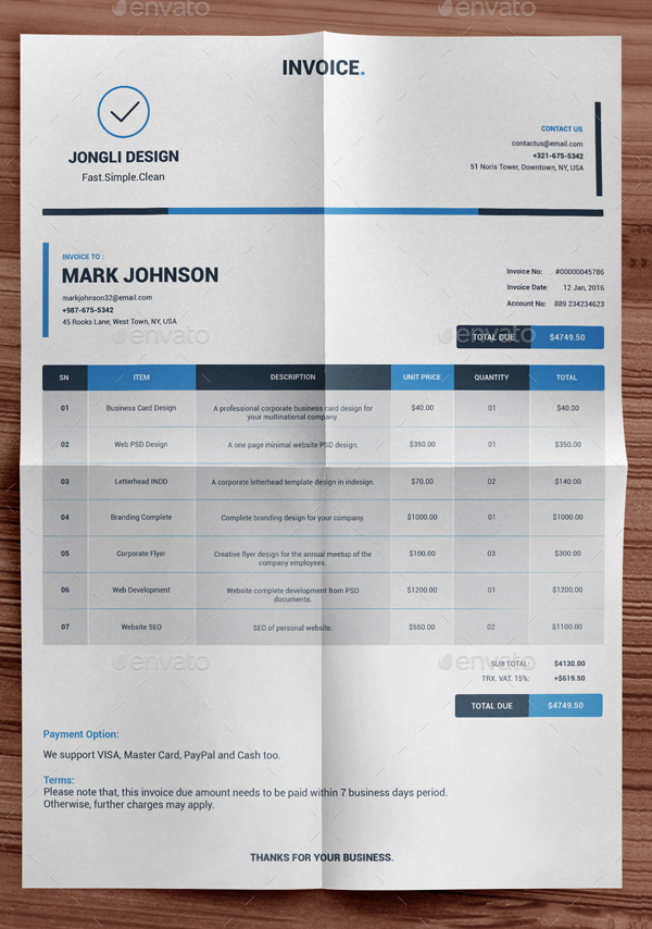 Clean Indesign Invoice Template