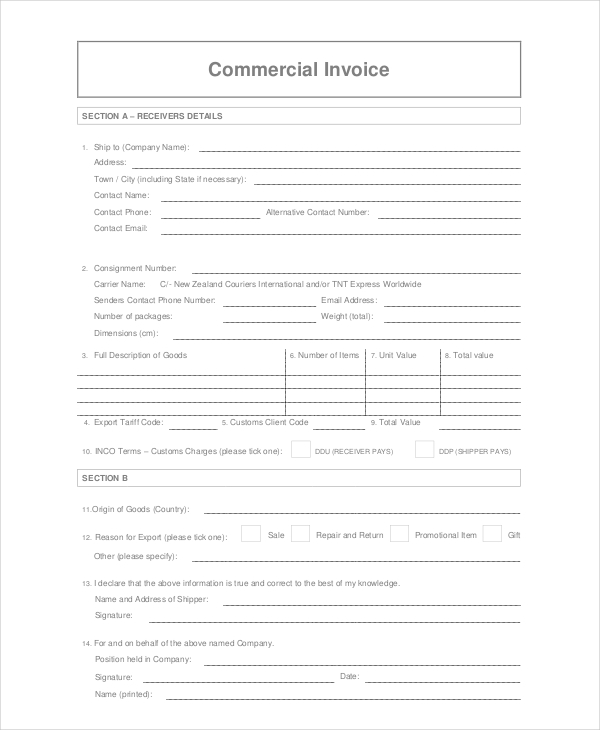 Commercial Courier Invoice Template