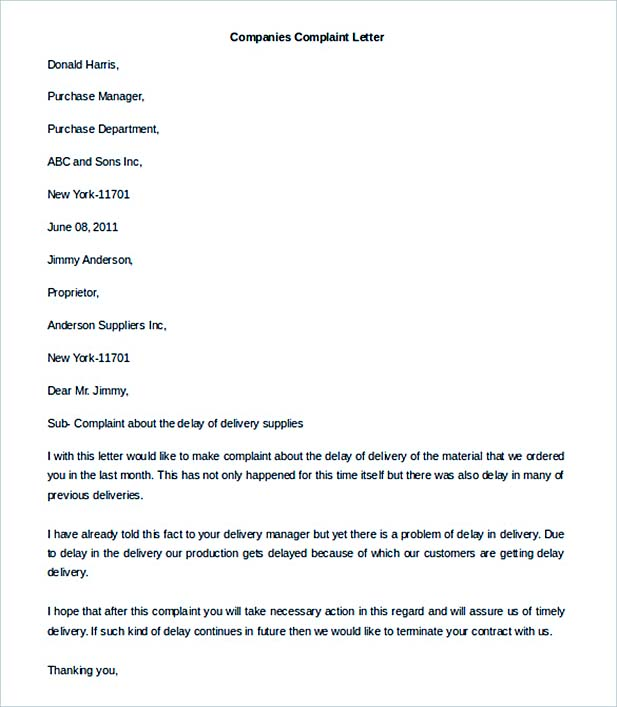 Companies Complaint Letter Template Word Format