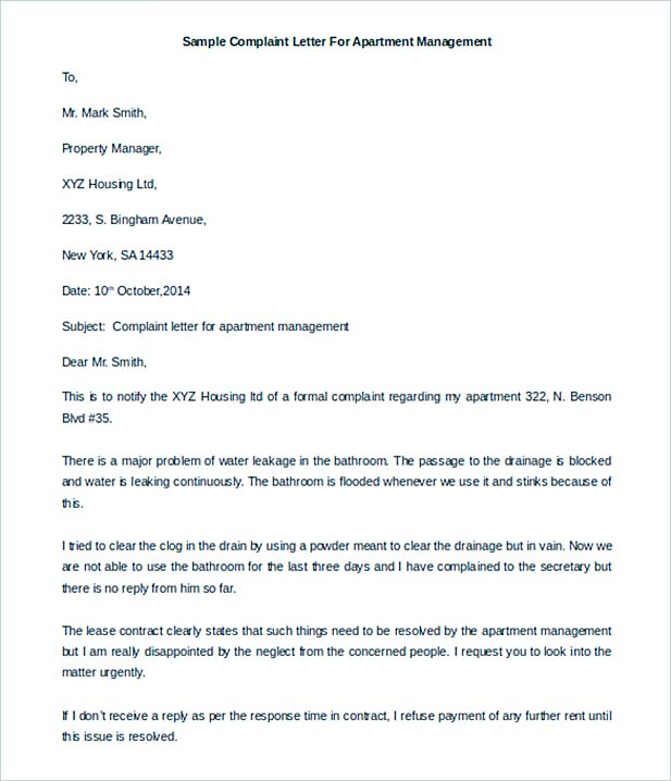 Complaint Letter For Apartment Management Download