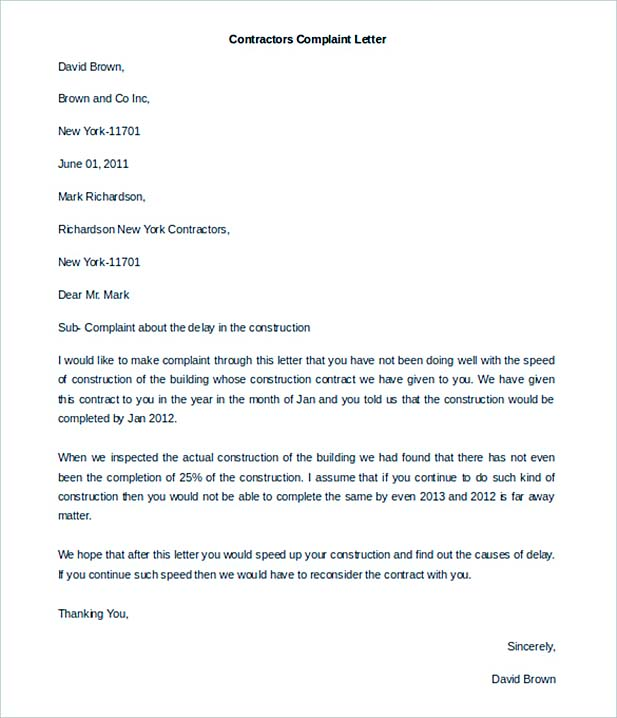 Contractors Complaint Letter Template Free Word Format