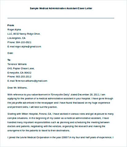 Cover Letter For Medical Administrative Assistant  Resume Cv