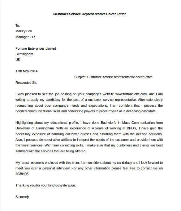 Customer Service Representative Cover Letter Template