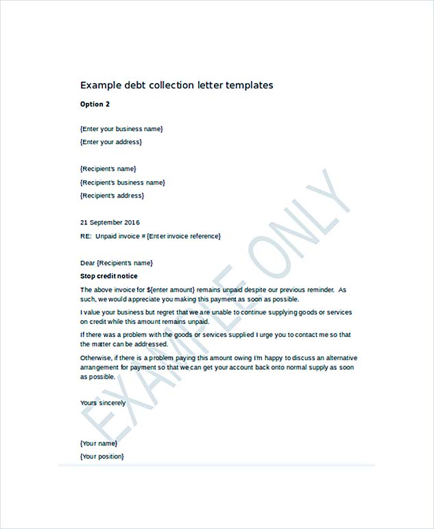 Debt Collection Letter Template  Letter Of Cease And Desist Template