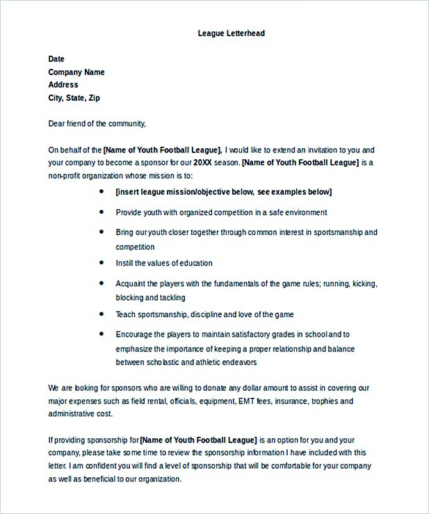 Donation Letter for Baseball Team MS Word Download