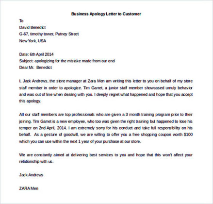 Download Business Apology Letter to Customer