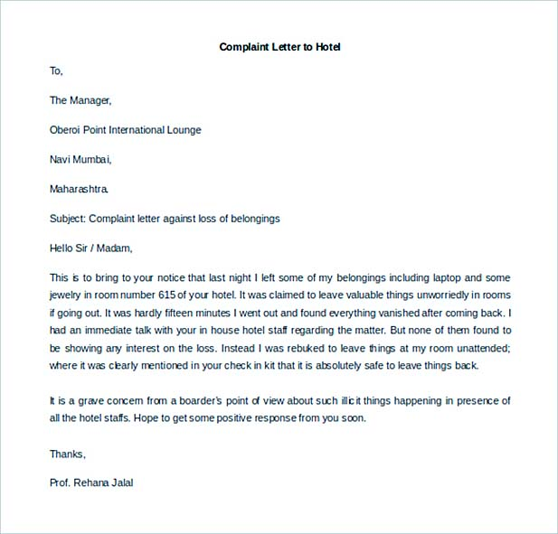 Download Complaint Letter to Hotel Printable