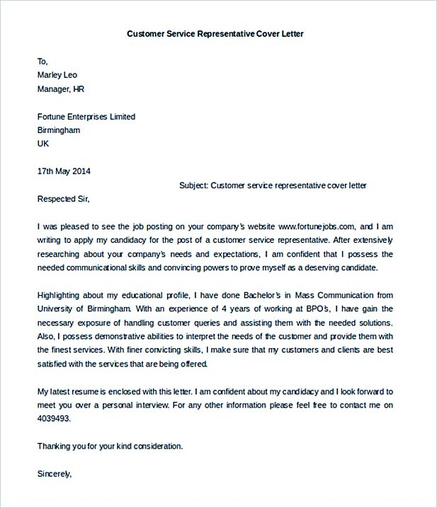 Download Customer Service Representative Cover Letter Template