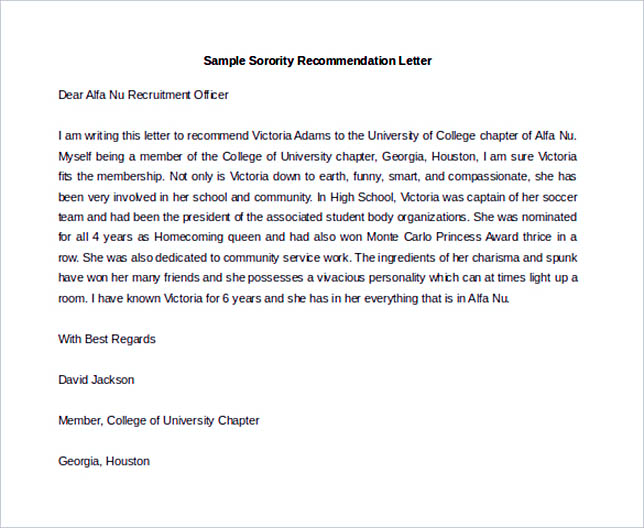 Download Sorority Recommendation Letter Template MS Word