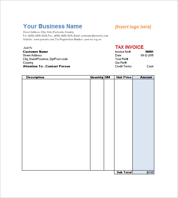 Downloadable Service Invoice Templates