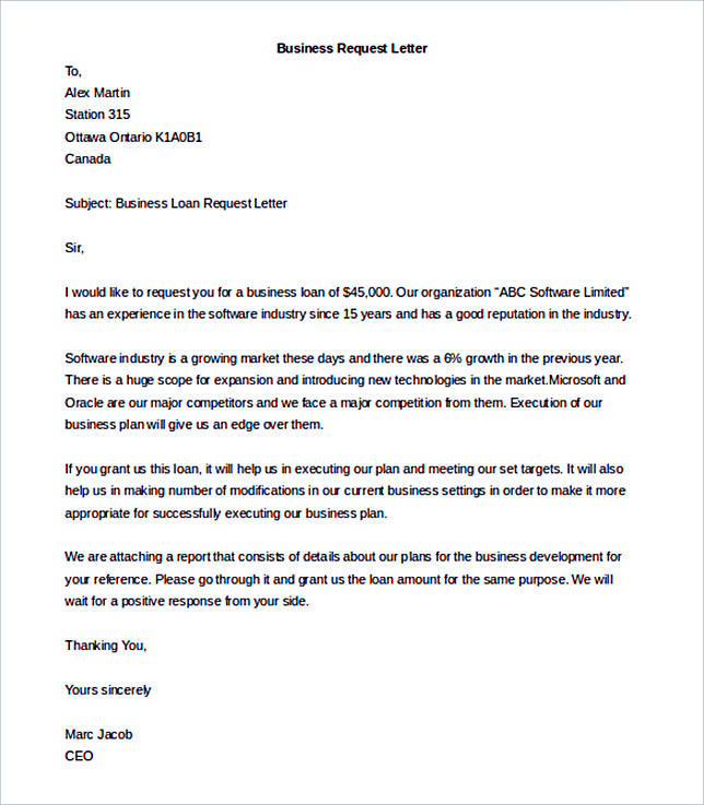 Editable Business Request Letter Template Free Download