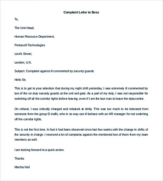 Editable Complaint Letter to Boss from Employee