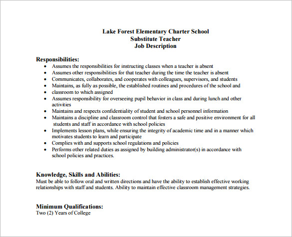 Elementary School Substitute Teacher Job Description Free