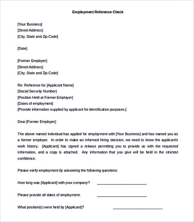 Doc495640 Reference Letter Template for Employment Free – Template for Reference Letter from Employer