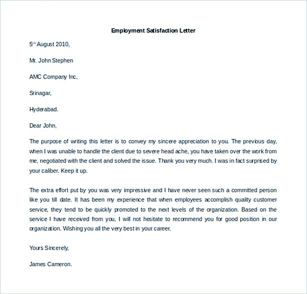 Letter Of Employment - Offer of employment letter template free