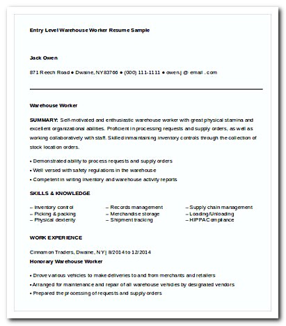 Entry Level Warehouse Worker Resume Sample