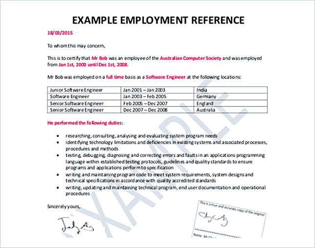 Example Of A Reference Letter Template  Example Reference Letter For Employee