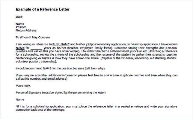 Example Of A Reference Letter Template