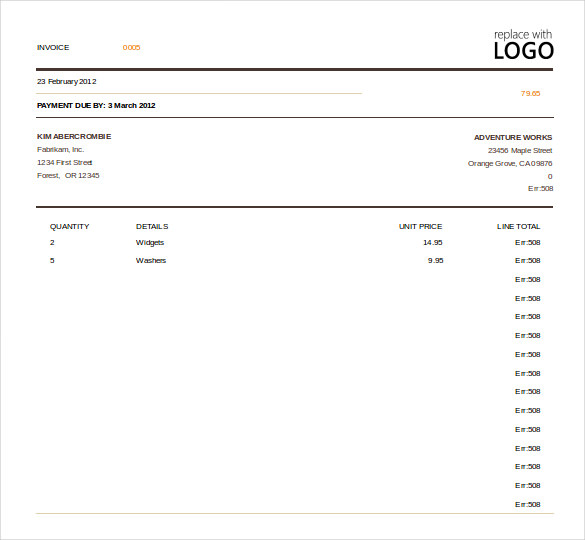 Excel Invoice Template Free