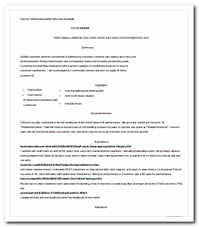 factory warehouse worker resume