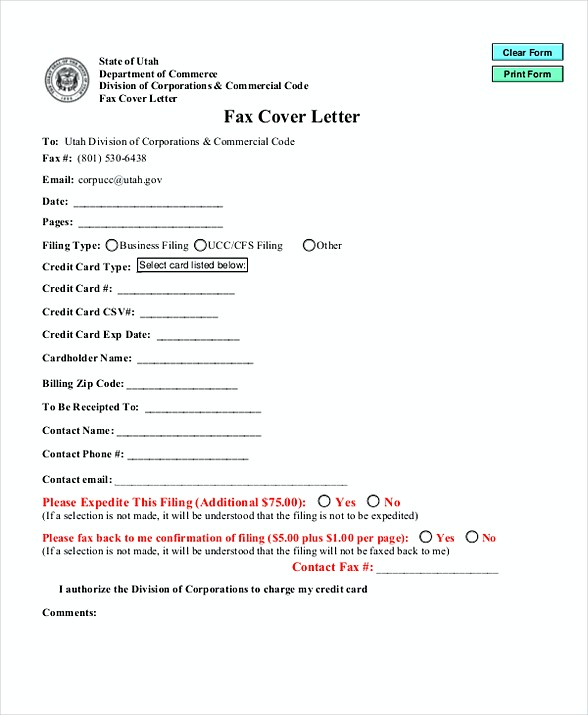 form of cover letters