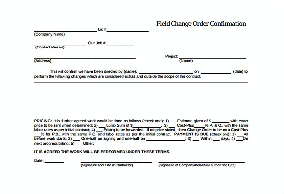 Field Change Confirmation Order Template Free