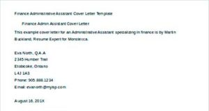 Finance Administrative Assistant Cover Letter Template