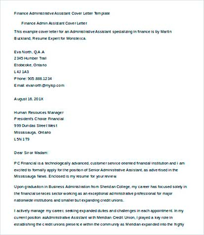 finance administrative assistant cover letter template - Administrative Assistant Cover Letter