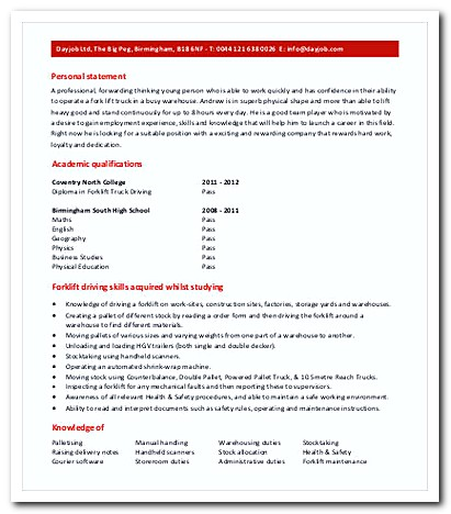 Warehouse forklift operator resume