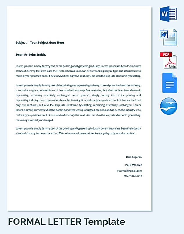 Formal Letter Template General Outline For Business