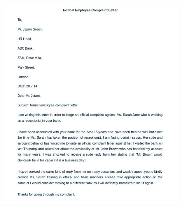 Formal Employee Complaint Letter Template Free Download